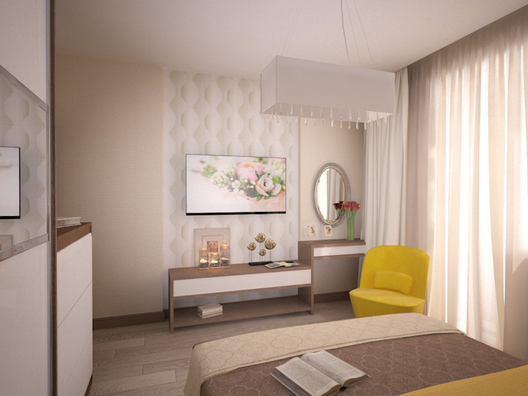 Квартира 65 кв.м. в Серебряных ключах Спальня в стиле модерн от Студия дизайна Виктории Силаевой Модерн