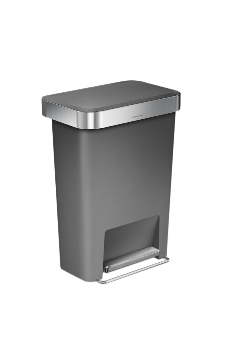 55 litre rectangular pedal bin with liner pocket simplehuman 廚房儲櫃