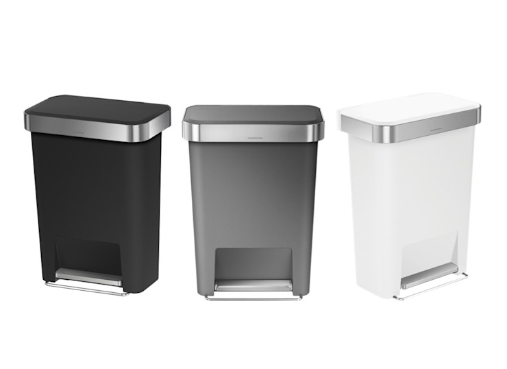 55 litre rectangular pedal bin with liner pocket simplehuman 客廳儲藏櫃