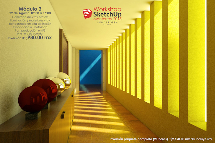 industrial style corridor, hallway & stairs by Estudio Render Gen Industrial