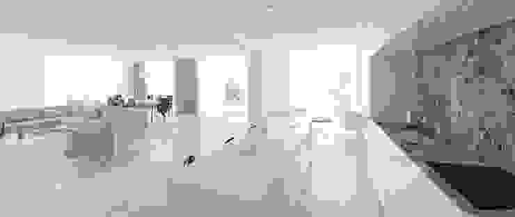 Widok z kuchni na salon Minimalistyczna kuchnia od Ajot pracownia projektowa Minimalistyczny