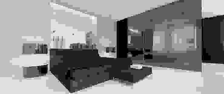 Widok na łóżko Minimalistyczna sypialnia od Ajot pracownia projektowa Minimalistyczny