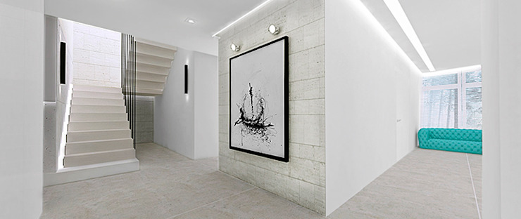 Hol Minimalistyczny korytarz, przedpokój i schody od Ajot pracownia projektowa Minimalistyczny