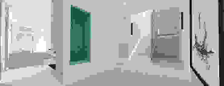 Hol - widok na schody Minimalistyczny korytarz, przedpokój i schody od Ajot pracownia projektowa Minimalistyczny