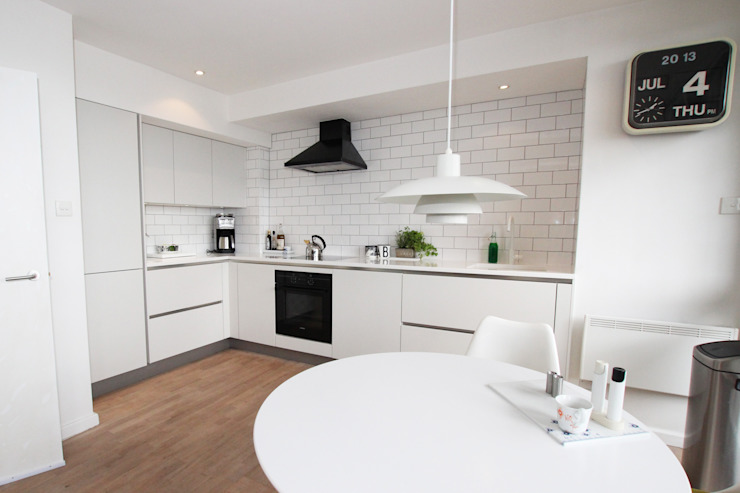 White matt kitchen​ design LWK London Kitchens 現代廚房設計點子、靈感&圖片