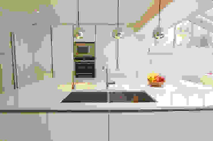 Handleless white gloss kitchen island design LWK London Kitchens Modern style kitchen