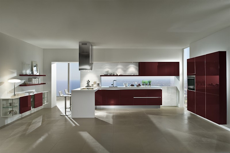 ​White and Wine red gloss lacquer kitchen LWK London Kitchens 廚房