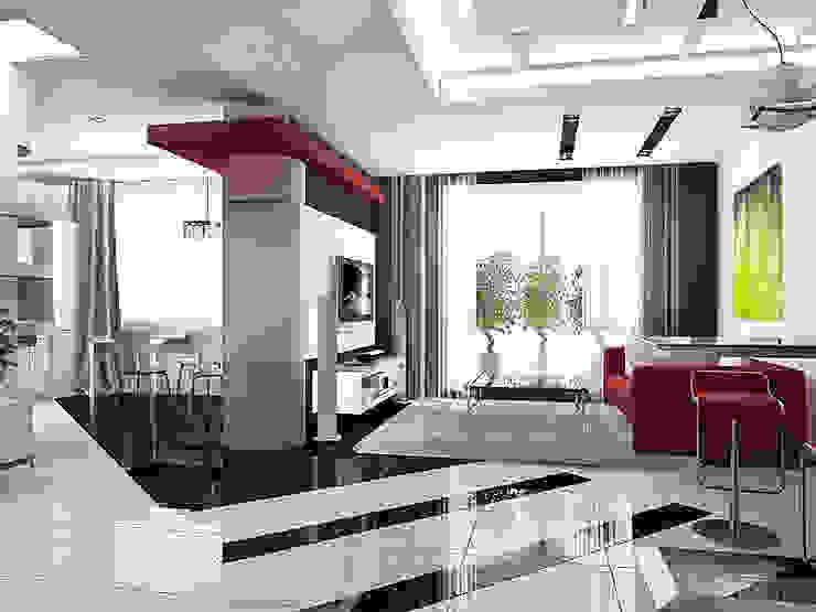 квартира в стиле минимализм 1 Гостиная в стиле минимализм от архитектор-дизайнер Алтоцкий Михаил (Altotskiy Mikhail) Минимализм