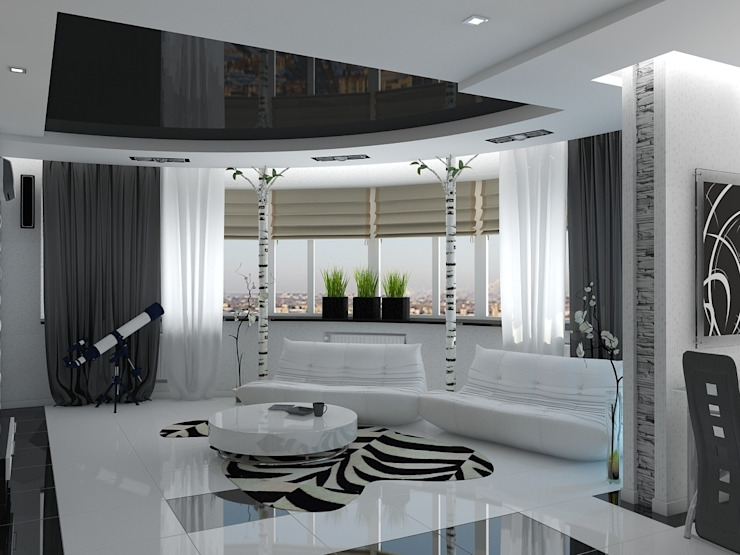 квартира в стиле минимализм 2 Гостиная в стиле минимализм от архитектор-дизайнер Алтоцкий Михаил (Altotskiy Mikhail) Минимализм