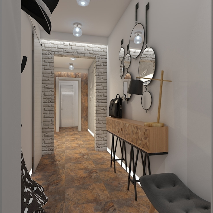 Minimalist corridor, hallway & stairs by архитектор-дизайнер Алтоцкий Михаил (Altotskiy Mikhail) Minimalist