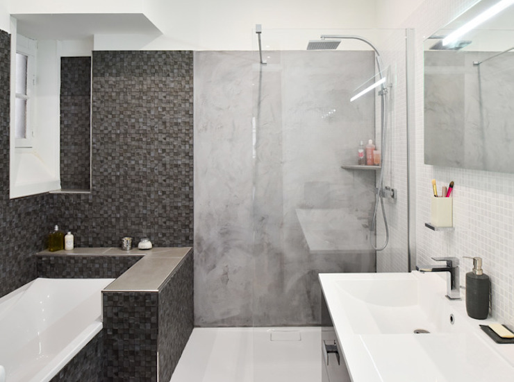 Rénovation d'un appartement haussmannien à Lyon 06 Salle de bain moderne par Marion Lanoë Architecte d'Intérieur Moderne