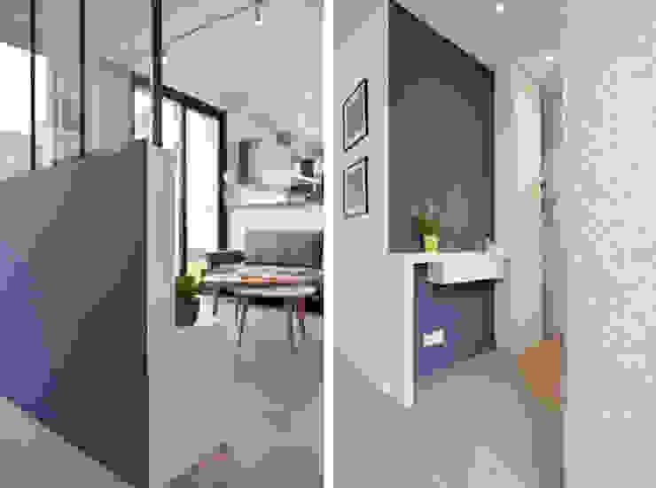Aménagement d'une pièce à vivre dans une maison à Lyon 08 Marion Lanoë Couloir, entrée, escaliers modernes