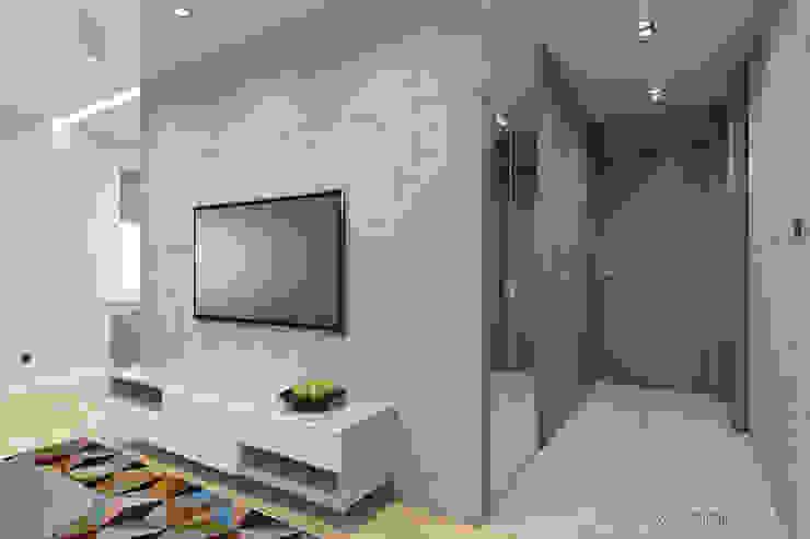 mieszkanie – Zakopane, Słoneczna – wizualizacja Nowoczesny korytarz, przedpokój i schody od MIRAI STUDIO Nowoczesny