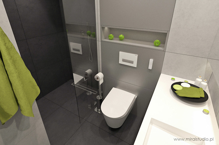 mieszkanie – Zakopane, Słoneczna – wizualizacja Nowoczesna łazienka od MIRAI STUDIO Nowoczesny