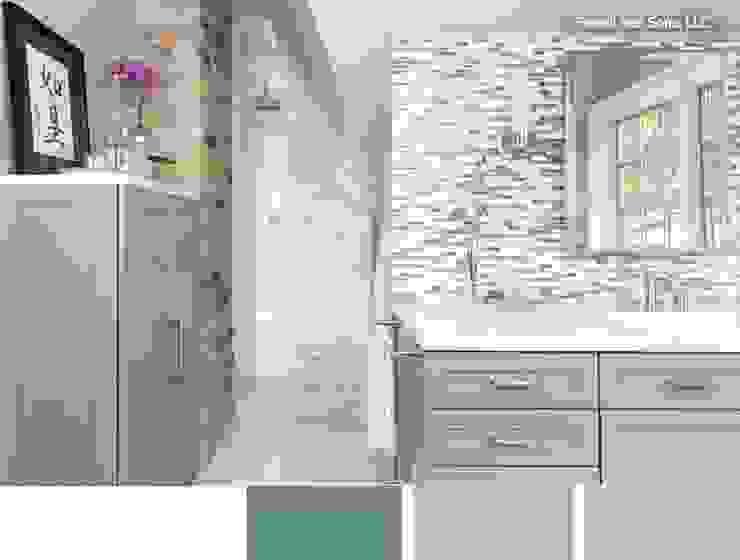 Cuarto de baño relajante con tonos verdosos y claros de La brujula Feng Shui Moderno