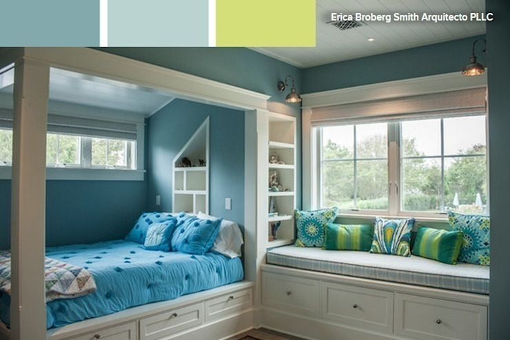Habitación infantil en colores azules y verdes vibrantes de La brujula Feng Shui Escandinavo