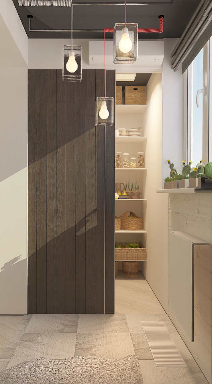 Современная квартира для молодой пары Балкон и веранда в стиле лофт от Katerina Butenko Лофт