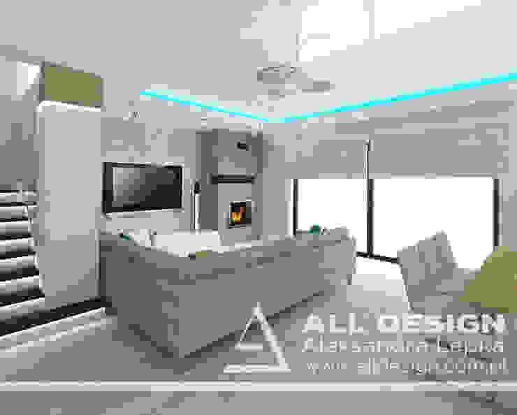 Projekt wnętrz domu w Kaliszu Nowoczesny salon od All Design- Aleksandra Lepka Nowoczesny