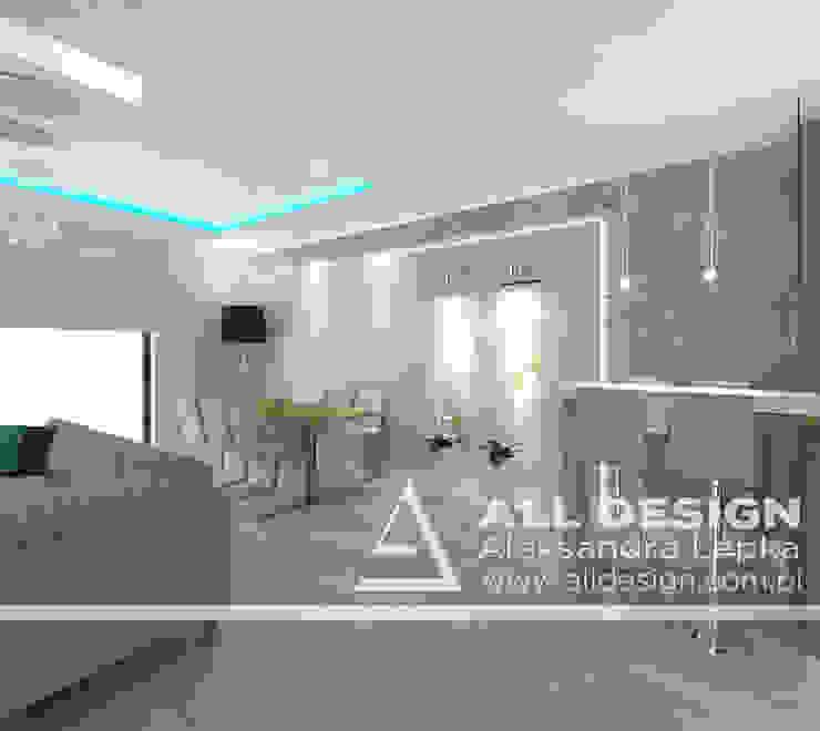 Projekt wnętrz domu w Kaliszu Nowoczesna jadalnia od All Design- Aleksandra Lepka Nowoczesny