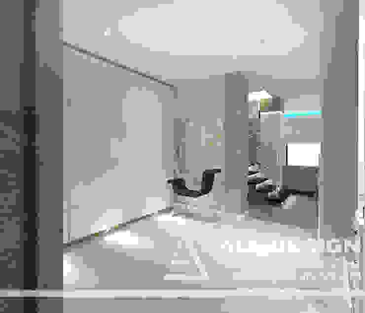Projekt wnętrz domu w Kaliszu Nowoczesny korytarz, przedpokój i schody od All Design- Aleksandra Lepka Nowoczesny