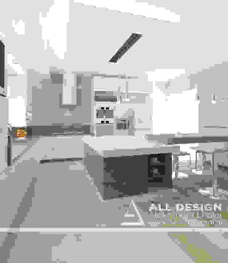 Projekt wnętrz domu w Kaliszu Nowoczesna kuchnia od All Design- Aleksandra Lepka Nowoczesny