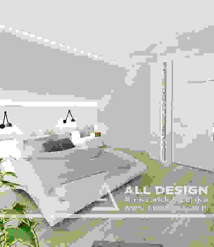 Projekt wnętrz domu w Kaliszu Nowoczesna sypialnia od All Design- Aleksandra Lepka Nowoczesny