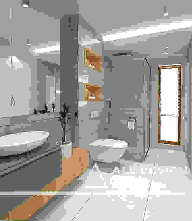 Projekt wnętrz domu w Kaliszu Nowoczesna łazienka od All Design- Aleksandra Lepka Nowoczesny