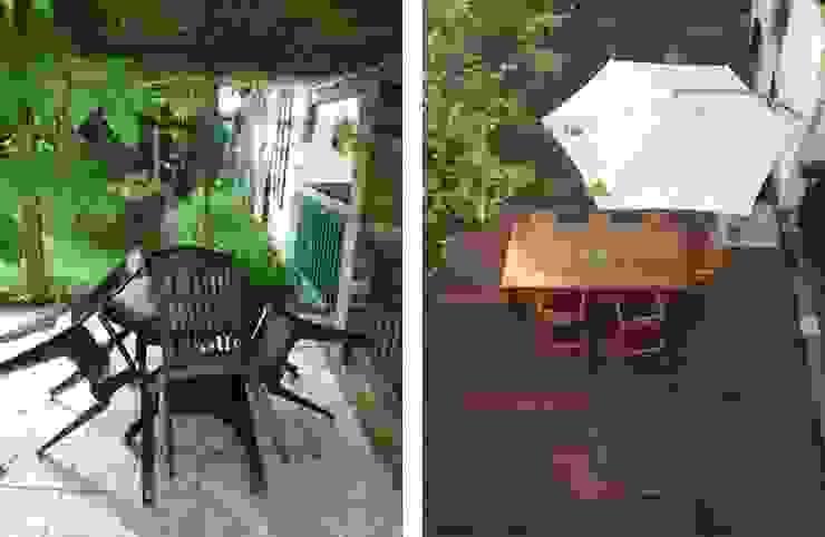 Dunkle Pergola und Plastikmöbel sind natürlichem Holz und erfrischender Weite auf der Terrasse gewichen von homify