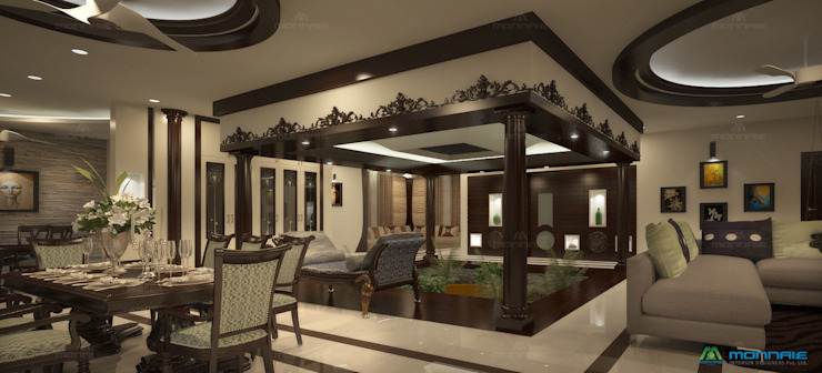 Nalukettu- Living area Monnaie Interiors Pvt Ltd 客廳