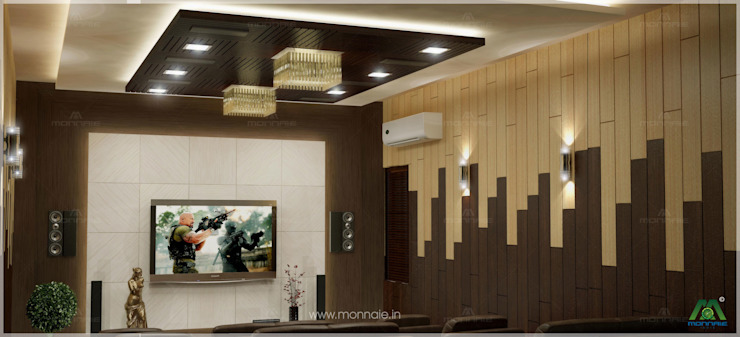 Home theatre Monnaie Interiors Pvt Ltd 視聽室