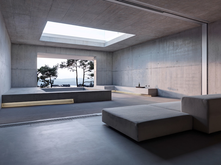 Wohnhaus . Erlenbach 2012 . gus wüstemann architects Minimalistischer Balkon, Veranda & Terrasse von nachtaktiv GmbH Minimalistisch