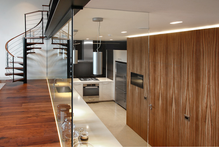 Open Plan Kitchen with Glass Wall Modern kitchen by Elan Kitchens Modern