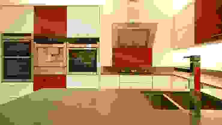 Mondrian inspired Kitchen: Red glass cooker splashback. Modern kitchen by DIYSPLASHBACKS Modern Glass