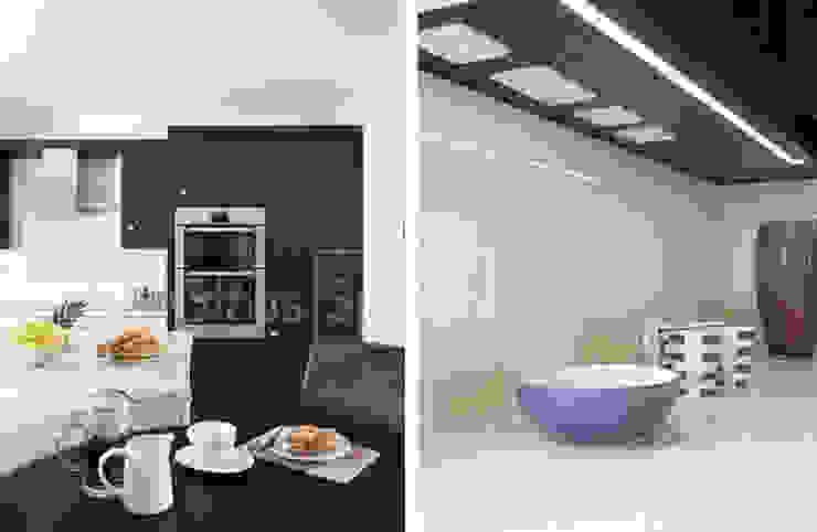 Glacier Glass Splashback in tone-tone shaker kitchen. Colonial style kitchen by DIYSPLASHBACKS Colonial Glass