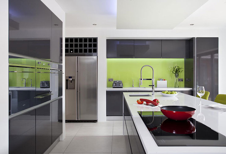 Wild Lime Glass Splashback in Grey Minimalist Kitchen by DIYSPLASHBACKS Minimalist