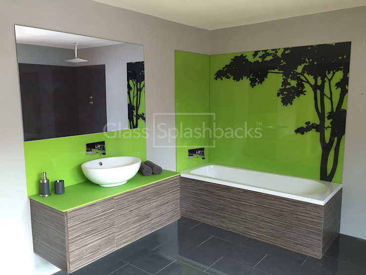 Green Boutique Hotel Style Bathroom Eclectic style bathroom by DIYSPLASHBACKS Eclectic