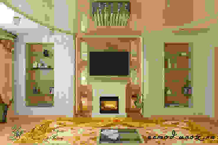 Дизайн гостиной с панорамной фреской Гостиная в классическом стиле от Цунёв_Дизайн. Студия интерьерных решений. Классический