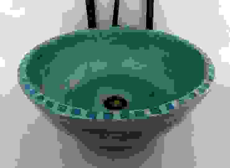 Waschbecken ägyptisch-grün / Ø 41 cm / Höhe 15 cm von Atelier Schöning Mediterran