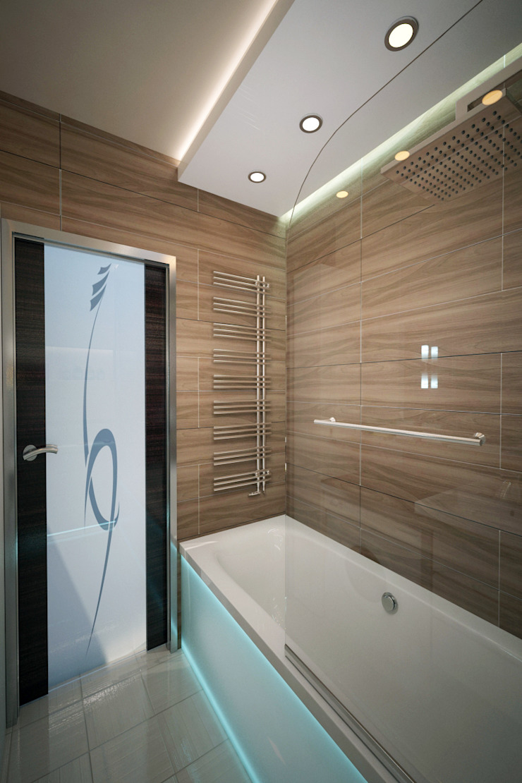 Ванная в новостройках Москвы Ванная комната в стиле минимализм от Myroslav Levsky Минимализм