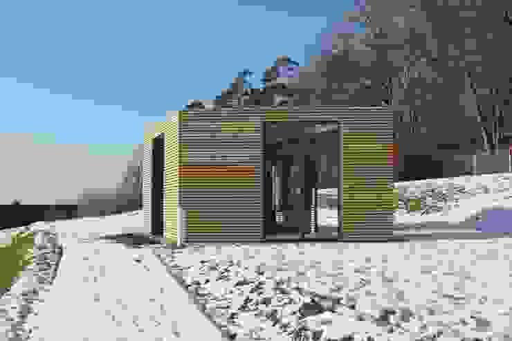 Design Pavillon Stahlkubus mit Holzbelattung FMH Moderne Museen von Fellbacher Metall- und Holzbau GmbH Modern