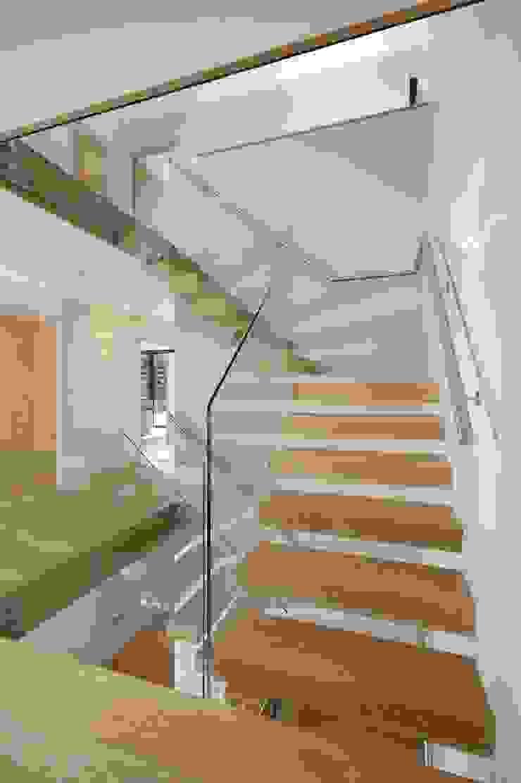 Free Standing Glass and timber stairs Minimalist corridor, hallway & stairs by Sarum Glass Ltd Minimalist