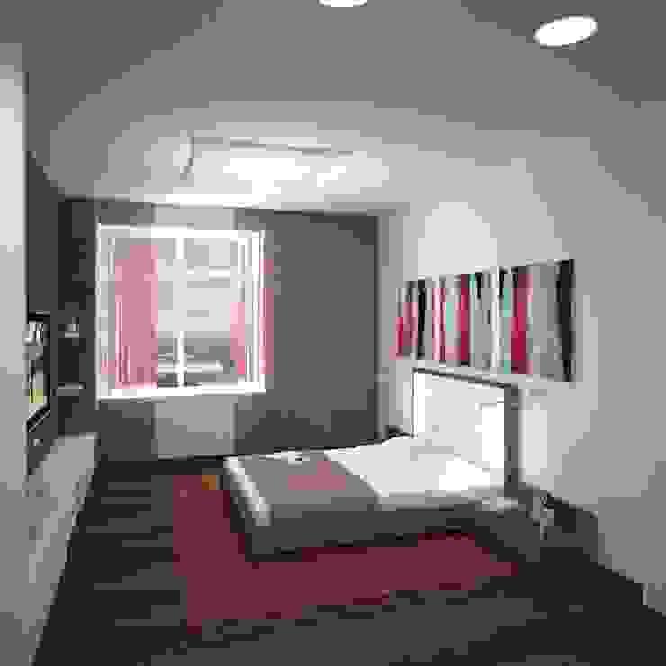 Двухуровневая квартира 160 м2 Спальня в стиле минимализм от KARYADESIGN architecture studio Минимализм