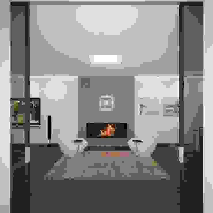 Загородный жилой дом 380 м2 Гостиная в стиле минимализм от KARYADESIGN architecture studio Минимализм