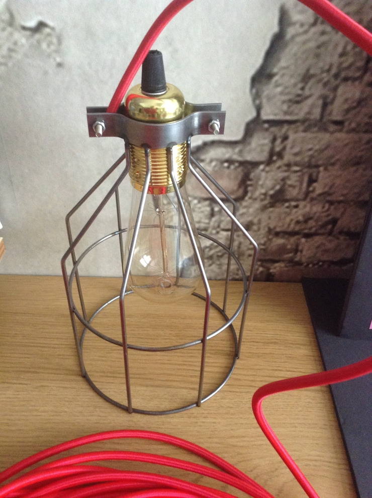 VINTAGE EDISON BULB CAGED : industrial  by Shandler Homes Ltd, Industrial