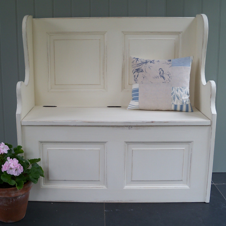 Hand Painted 3' Monks' Bench: country  by Rectory Blue, Country
