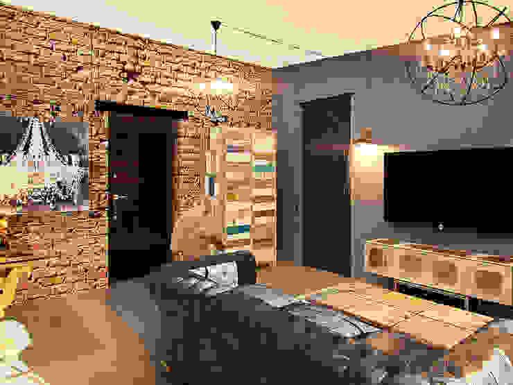 Апартаменты для молодой пары в Москве Гостиная в стиле лофт от Anna Vladimirova Лофт
