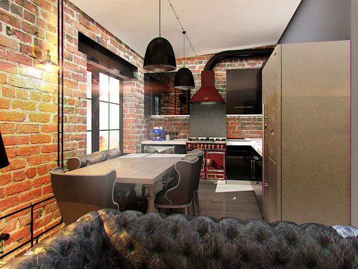 Апартаменты для молодой пары в Москве Кухня в стиле лофт от Anna Vladimirova Лофт