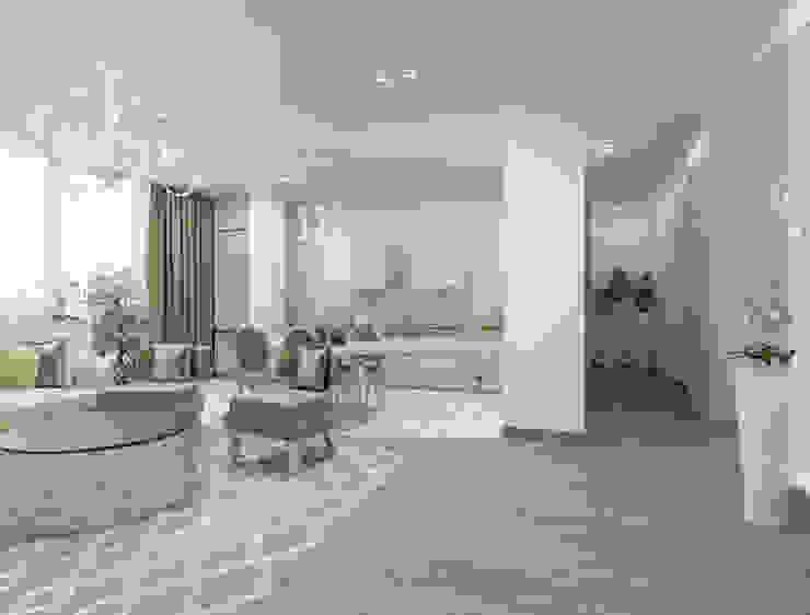 Белый интерьер в стиле ар деко Кухня в стиле лофт от pashchak design Лофт