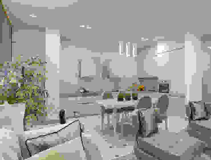 Белый интерьер в стиле ар деко Кухня в стиле модерн от pashchak design Модерн