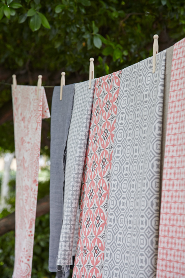 Cotton and linen hand screen printed fabrics: scandinavian  by akin & suri, Scandinavian